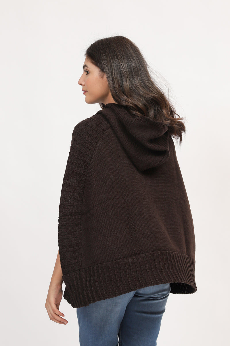 Chocolate Hooded Cape Shawl