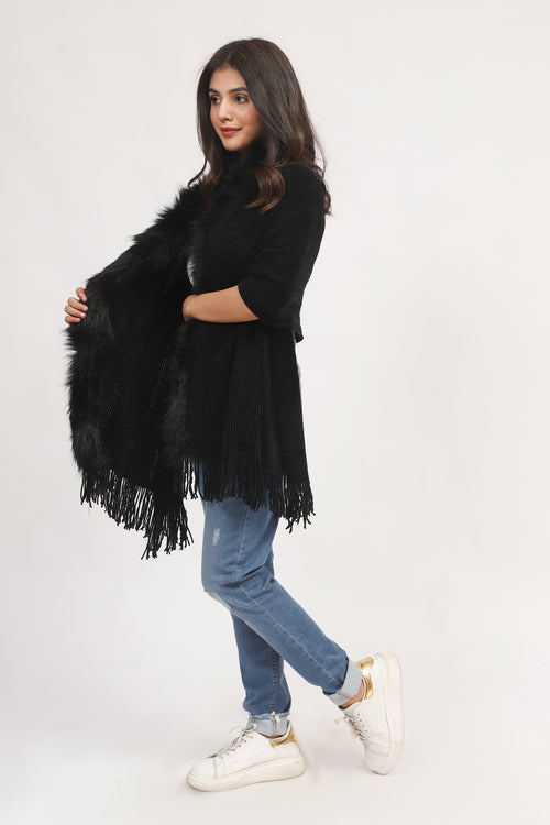 Black Cape Shawl With Fur