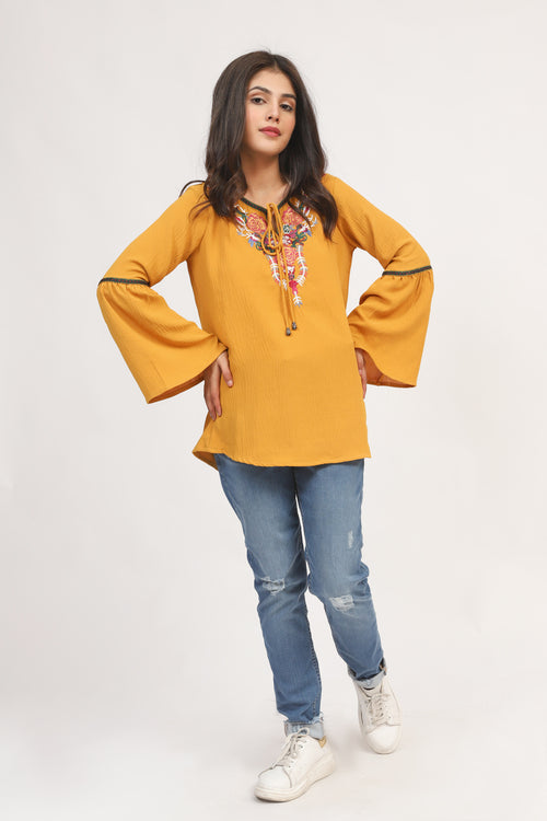 Mustard Boho Embroidered Top