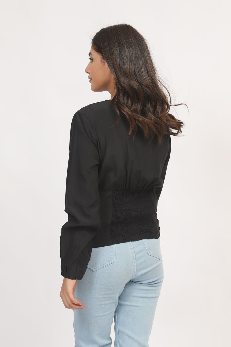 Black Waist Length Top With Stretch