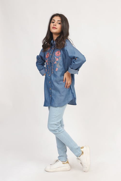 Denim Embroidered Top