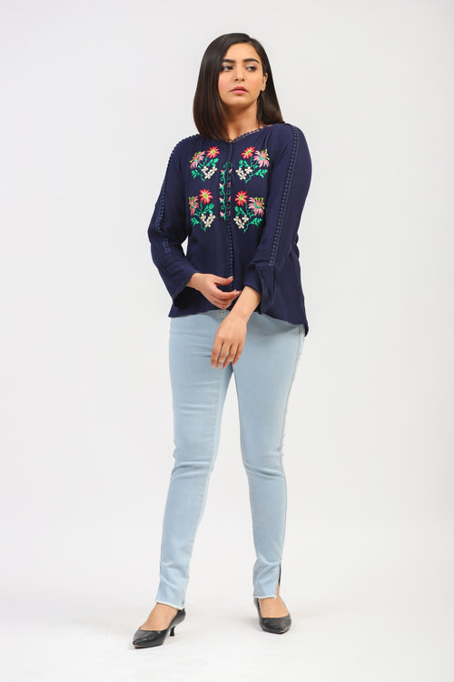 Navy Top With Floral Embroidery