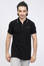 Black Zipper Polo
