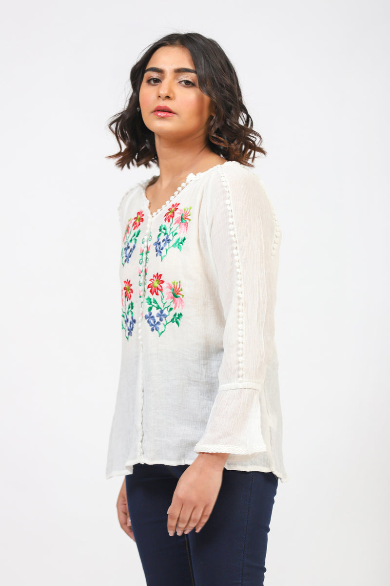 White Top With Floral Embroidery