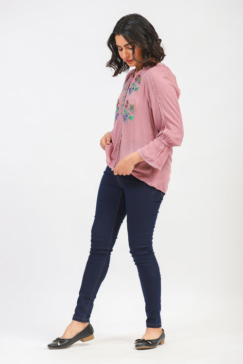 Powder Pink Top With Floral Embroidery