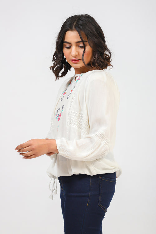 Embroidered Top With Waist Cord