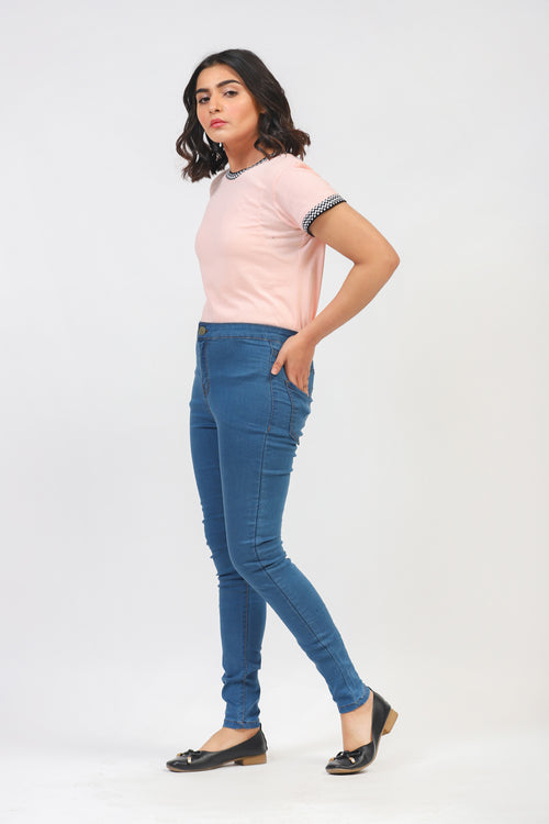 Pink Solid Tee With Contrast Rib