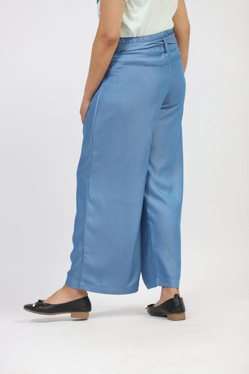 Blue Culotte With Waist Band