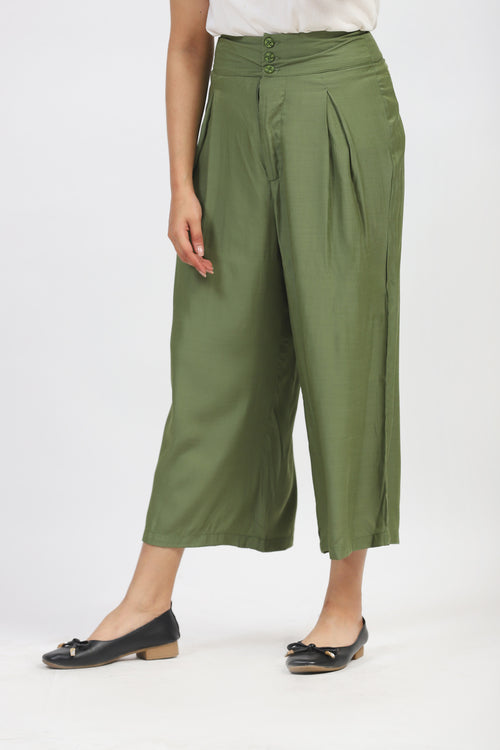 Olive Green Pleated Culotte