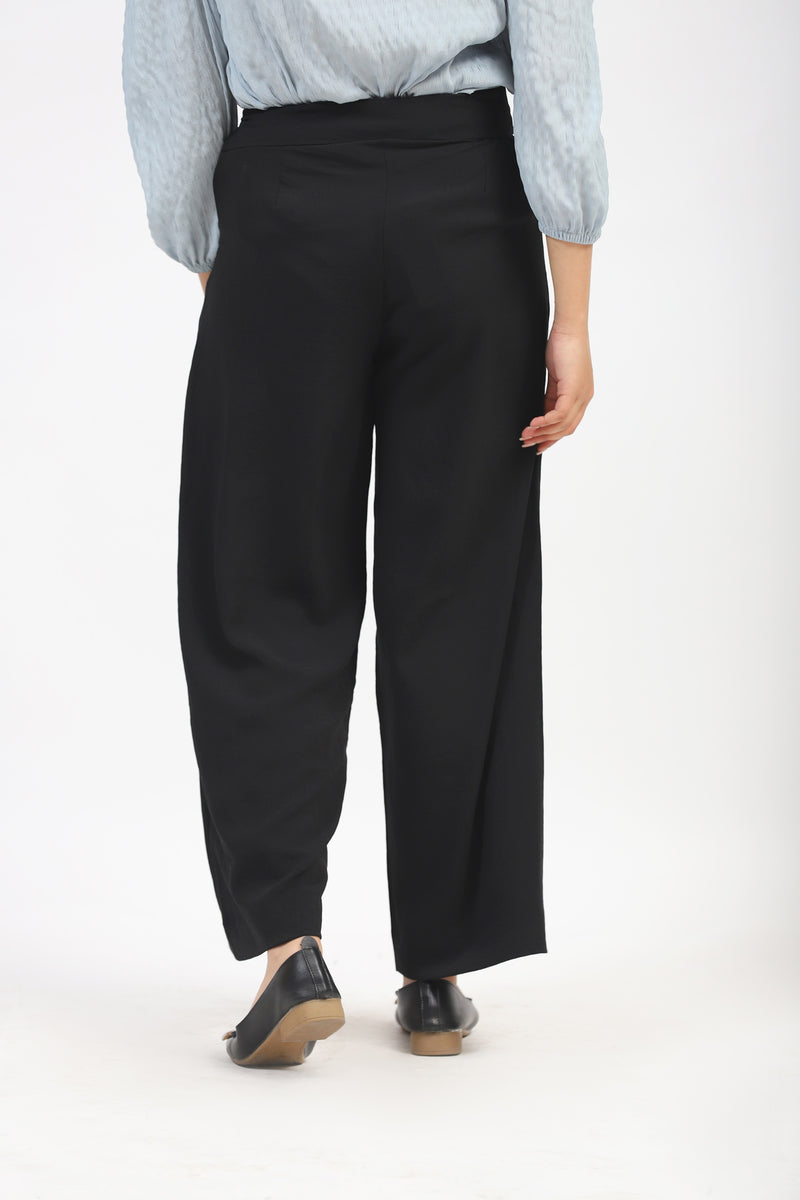 Black Culotte With Side Zip