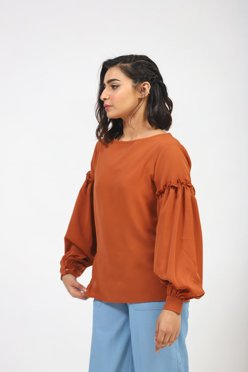 Brown Solid Top With Frilled Sleeves