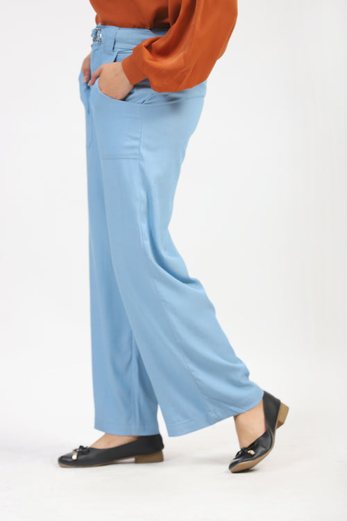 Blue Culotte With Belt