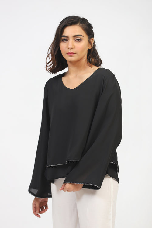 Black Double Layered Top