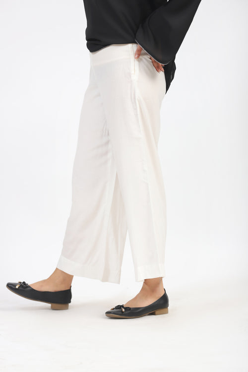White Culotte With Side Zip