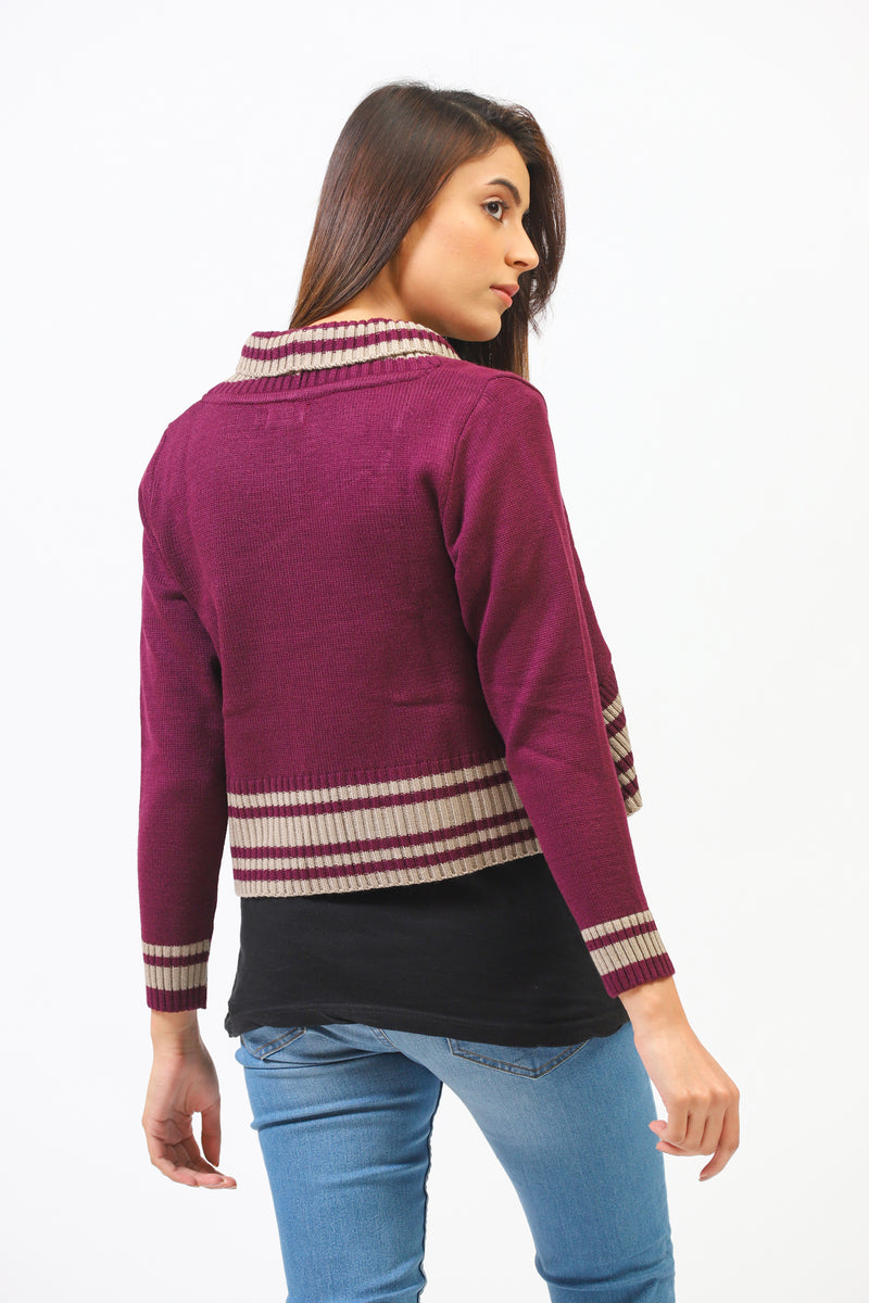 Poncho Sweater With Contrast Border