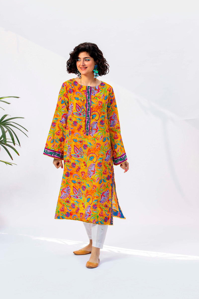 Lawn Kurti With Blossoming Colorful Printing