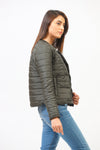 Waist Length Puffer With Front Buttons