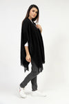 Black Cape Shawl With Textured Border