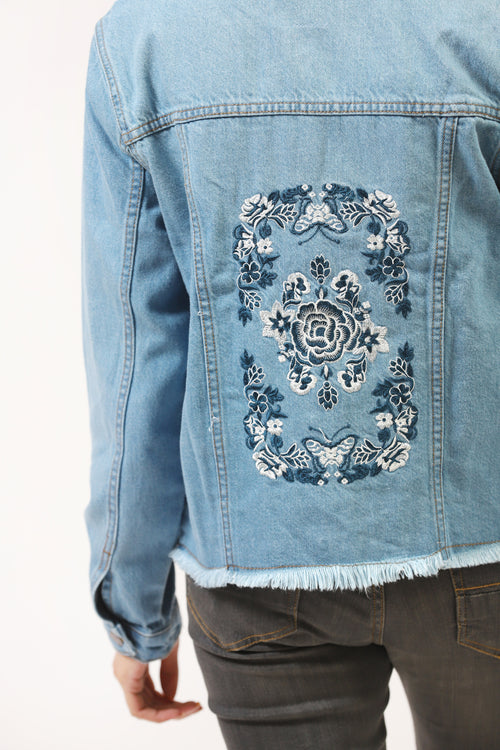Denim Jacket With Embroidered Back
