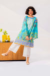 Aqua Blue Kurti With Striking Contrast Of Yellow Printing