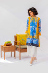 Kurti With Bright Contrast Of Yellow & Blue Print