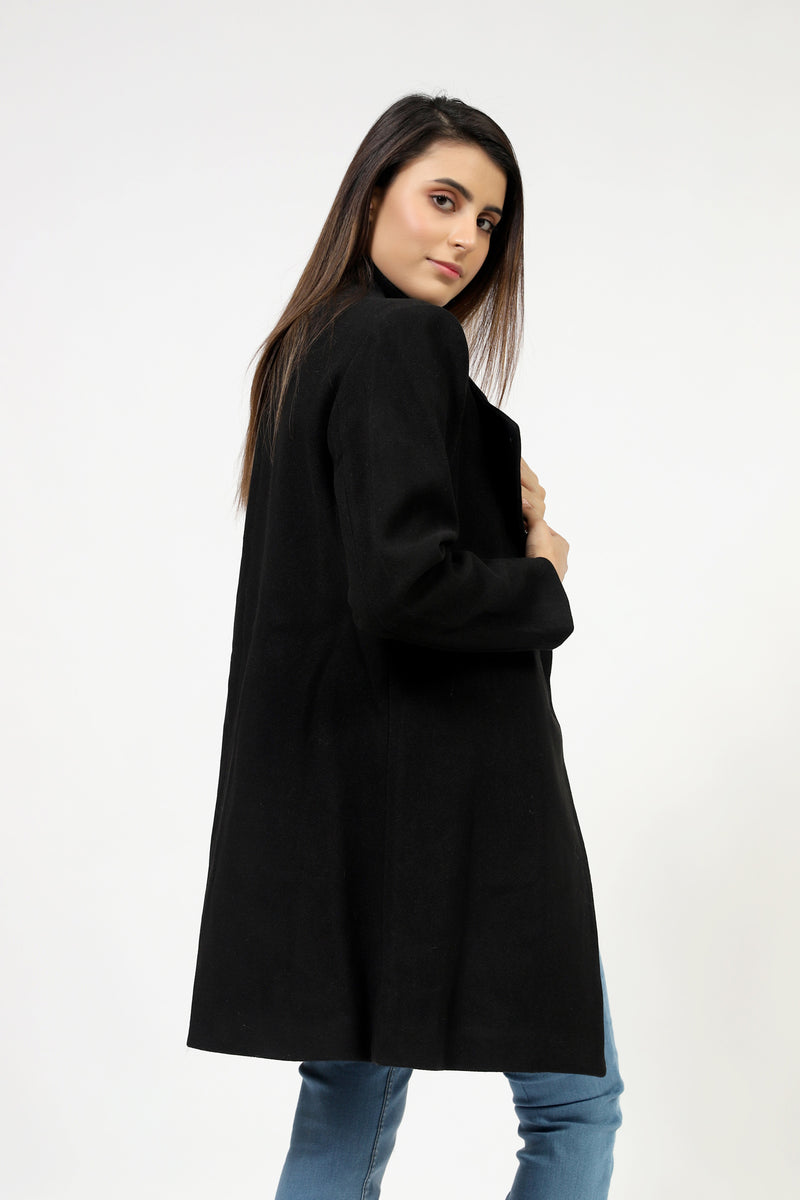 Black Long Coat With Collar