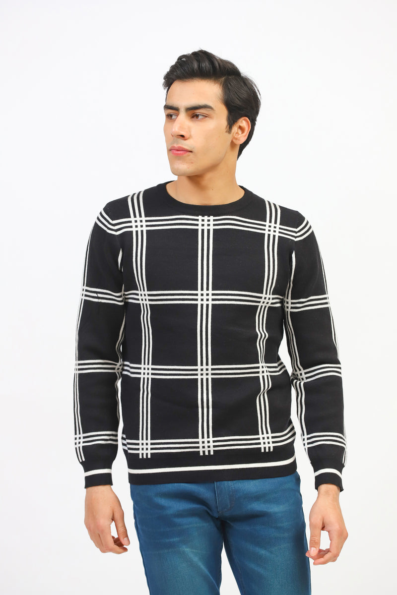 Round Neck Sweater With Check Pattern