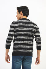 Melange Sweater With Solid Stripes