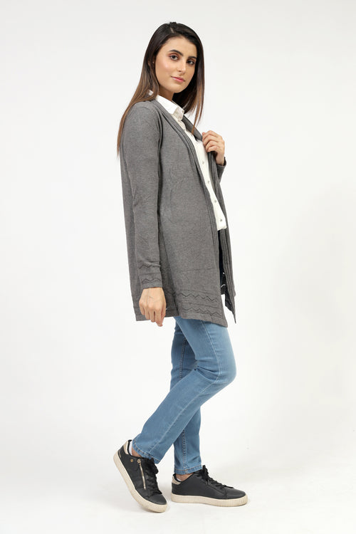 Grey Front Open Sweater With Cable Border