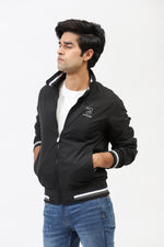 Bomber Jacket With Contrast Sleeve Bands