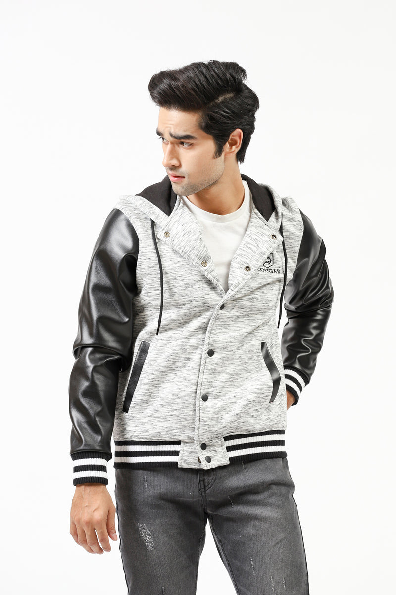 Fleece Hoodie With Faux Leather Sleeves