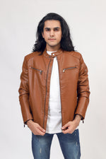 Faux Leather Jacket With Front Zips