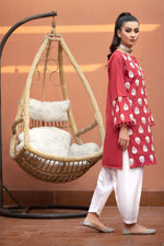 Deep Red Lawn Kurti with White Puffed Printing