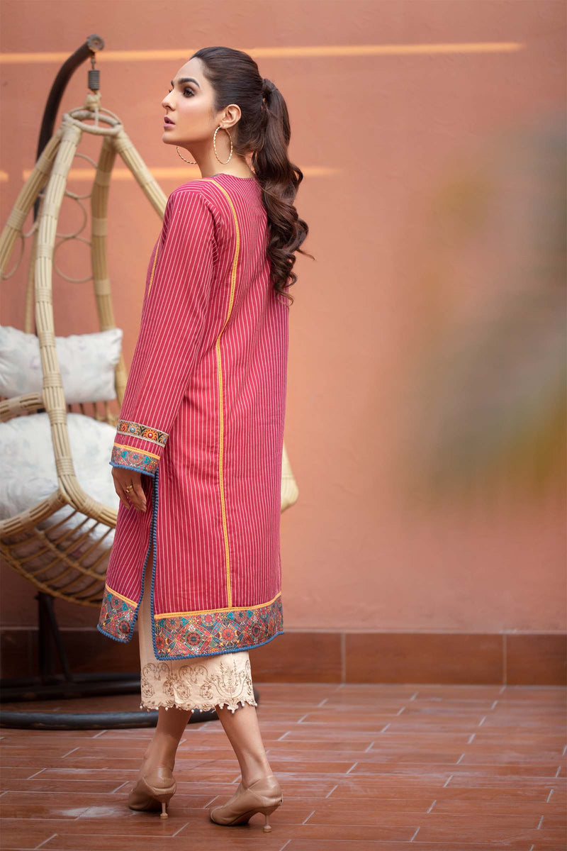 Red Striped Kurti with Embellishments of Mirror Work