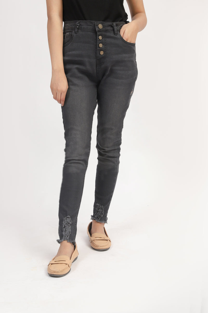 High Rise Jeans With Ripped Bottom