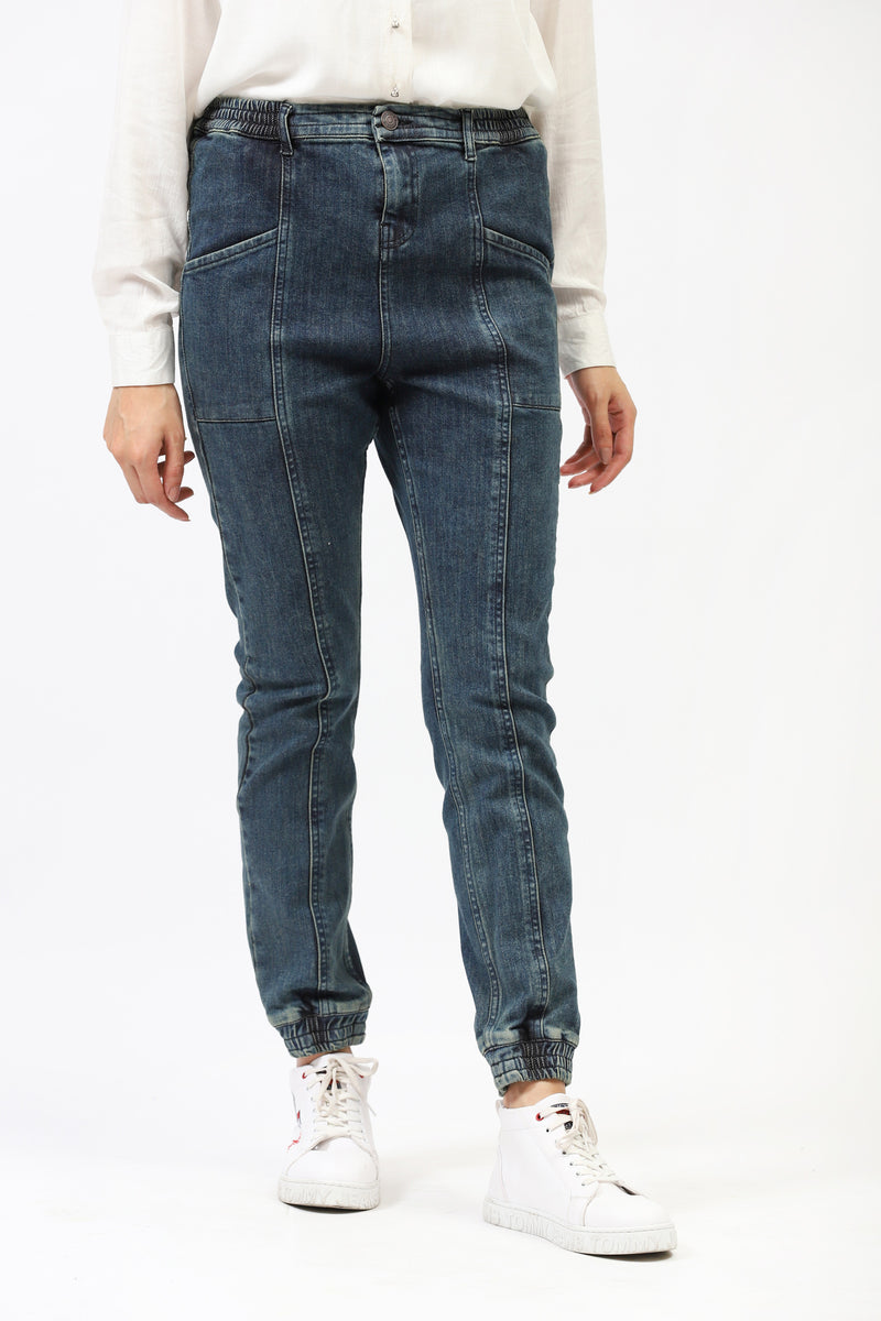 Blue Faded Jogger Jeans With Side Panel Pocket