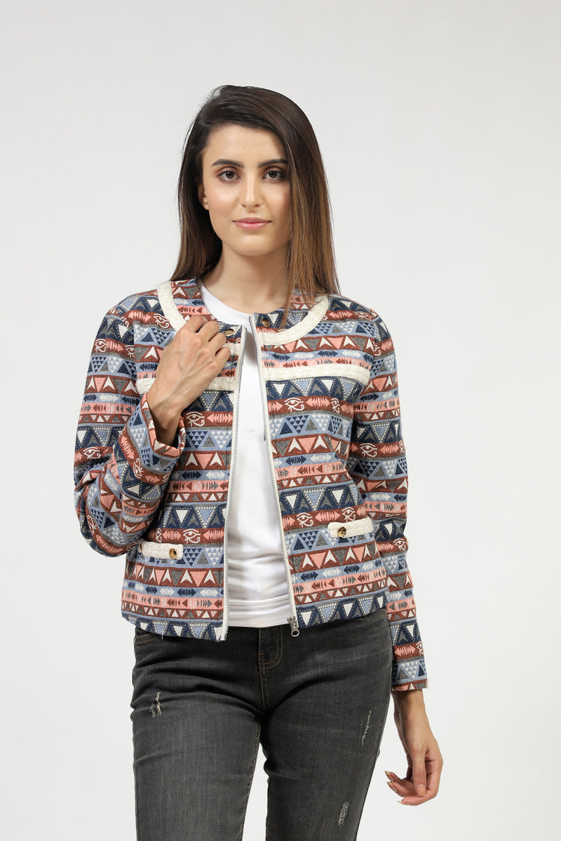 Jacquard Jacket With White Lace