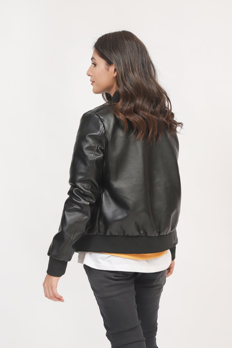 Black Bomber Jacket With Sequence Badge