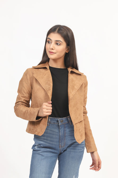 Suede Jacket With Collar