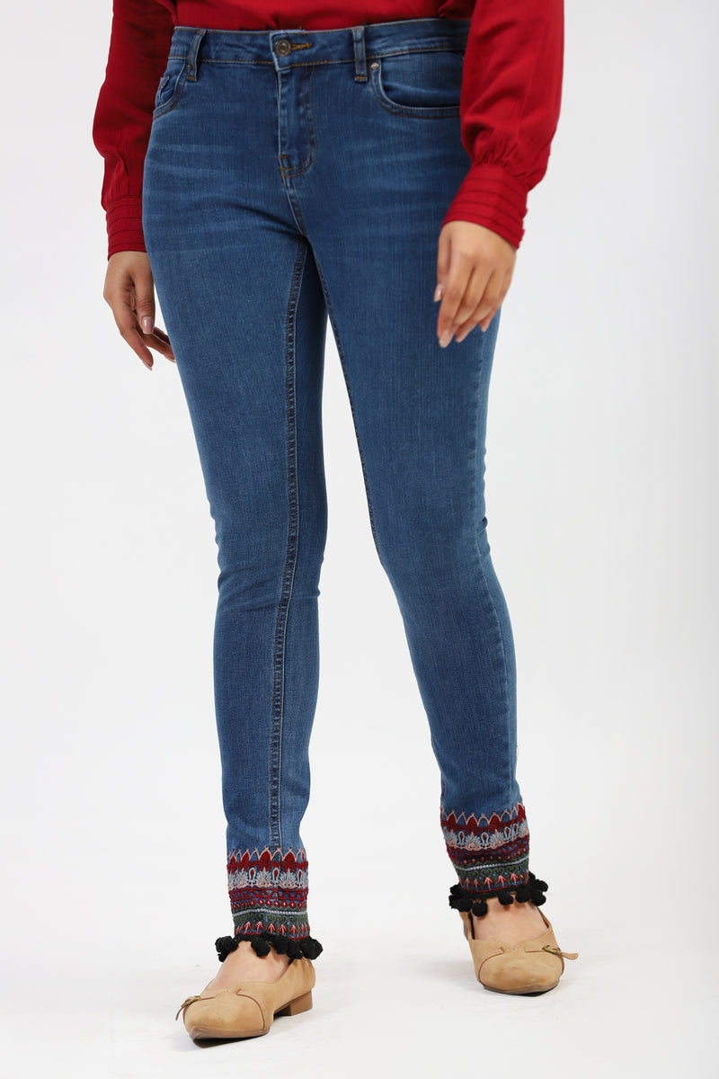 Jeans With Ethnic Embroidered Bottom