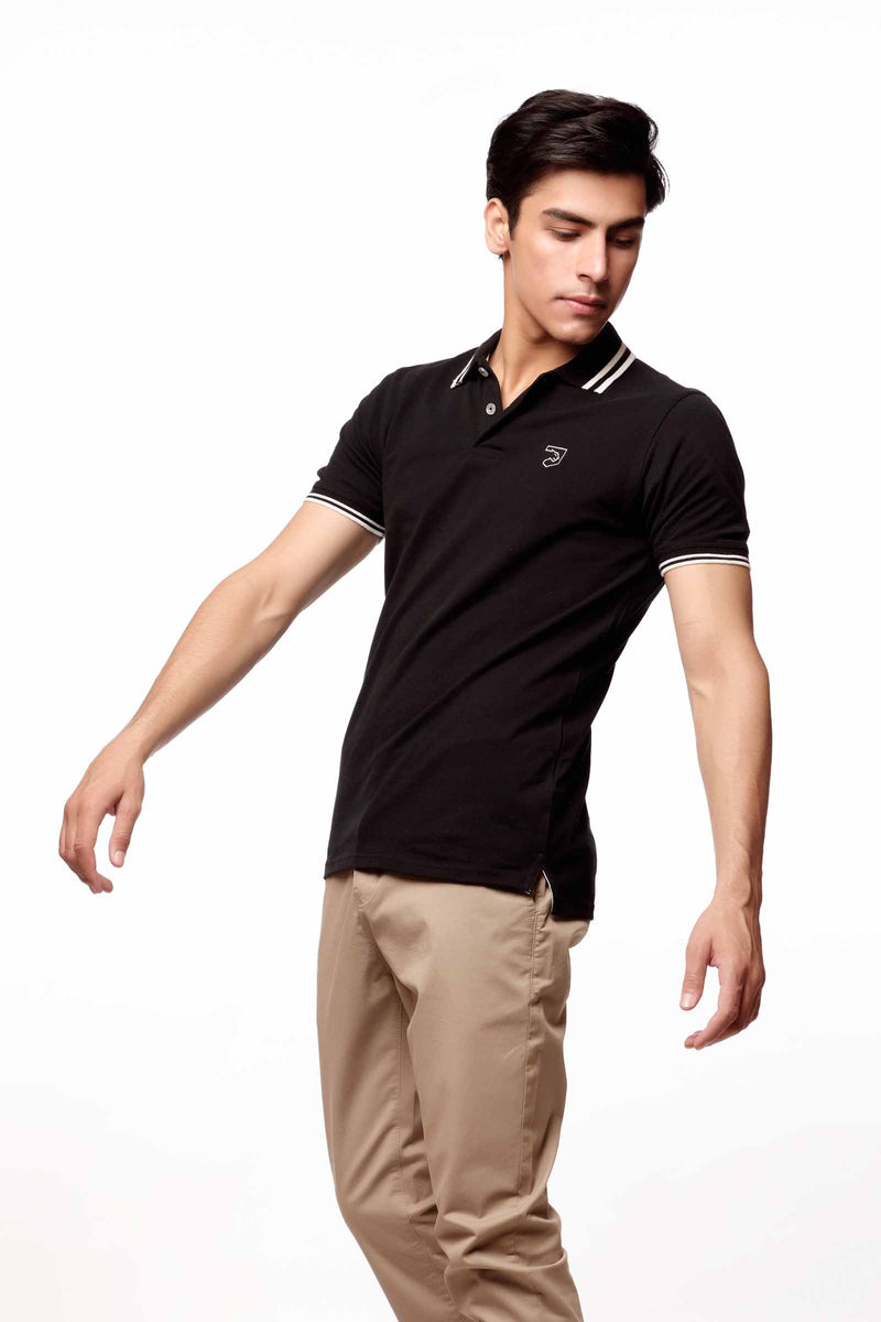 Black Polo With White Accents