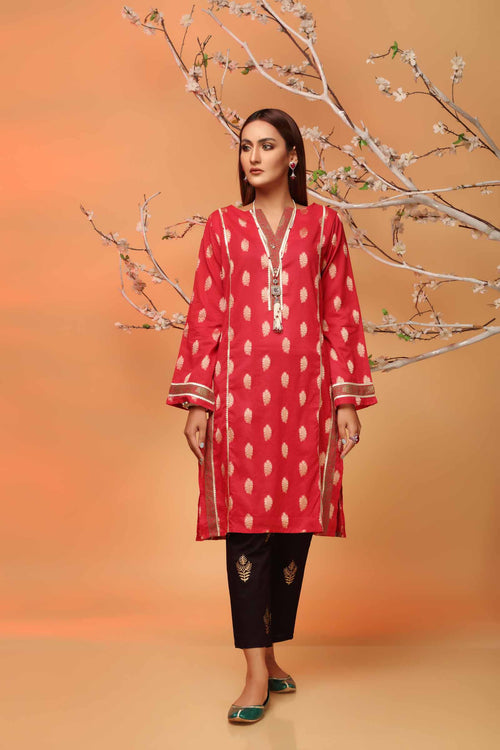Deep Red Jacquard Kurti With Contrast Block Printed Neckline