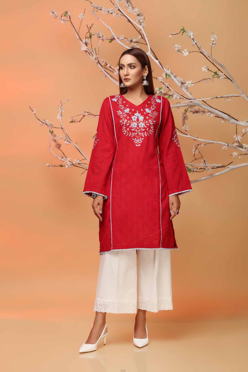 Red Lawn Kurti Enhanced With Neckline Embroidery & Back Motif