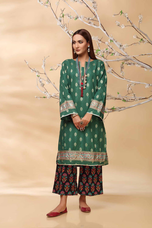 Emerald Green Kurti With Golden Jacquard & Block Print