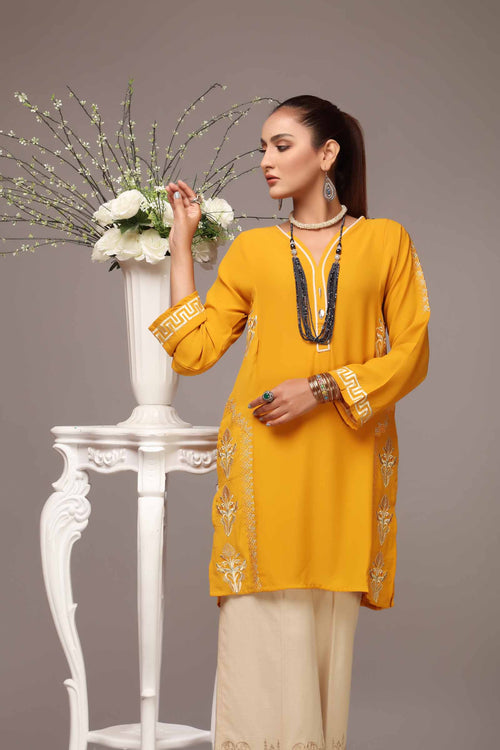 Mustard Yellow Kurti With Embroidered Motifs & Side Pockets