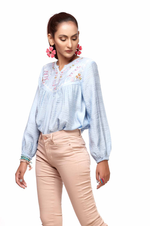 Ice Blue Embroidered Top