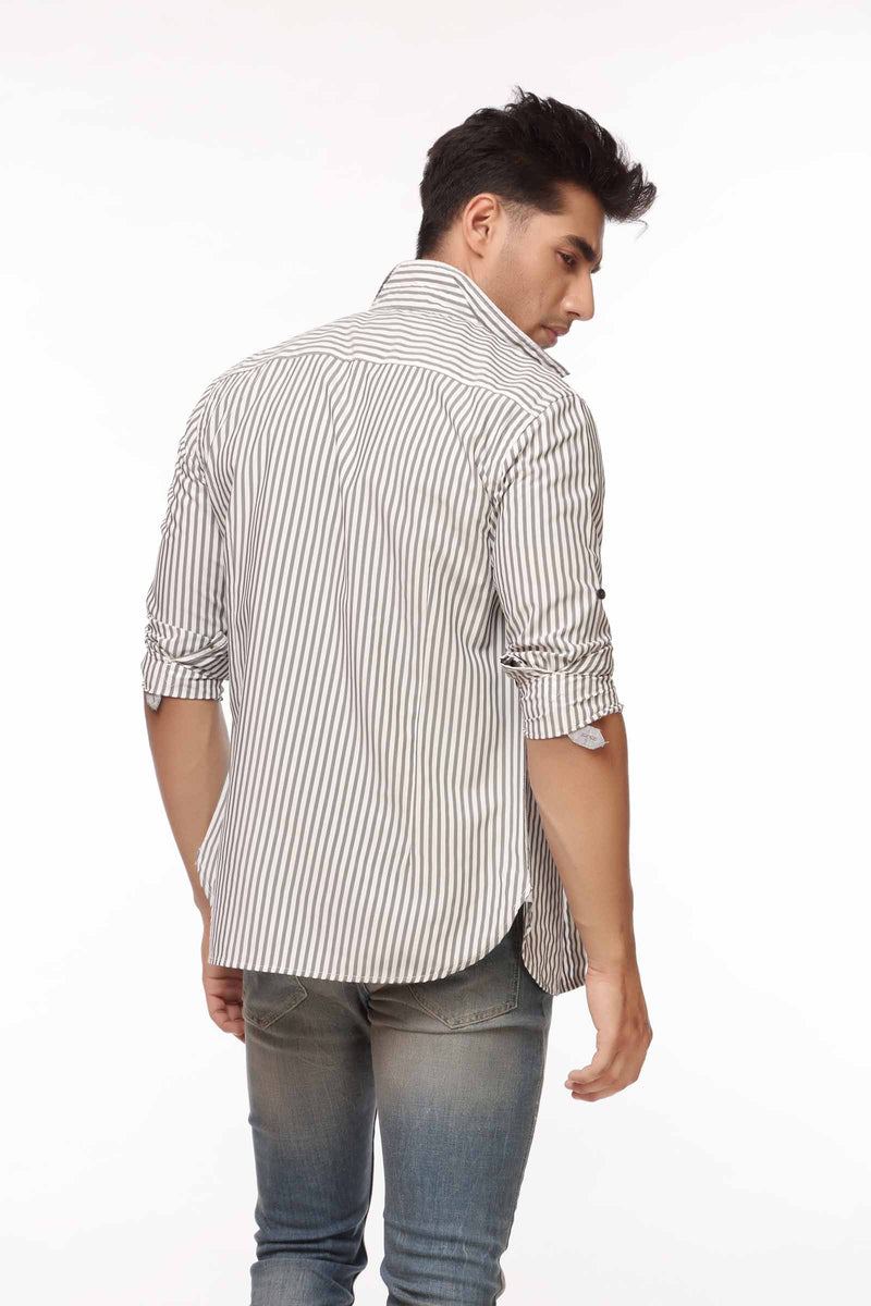 Grey Striped Casual Shirt