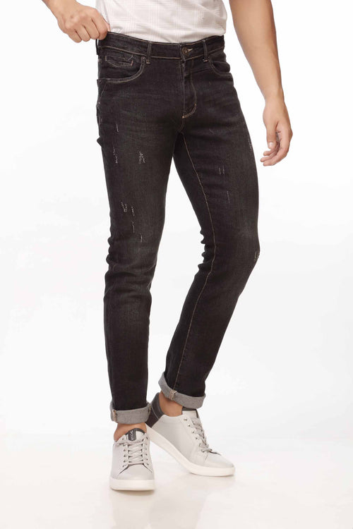Black Faded Jeans With Damage Effect