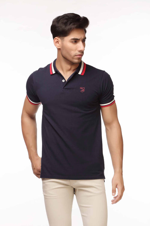 Navy Polo With Double Color Collar