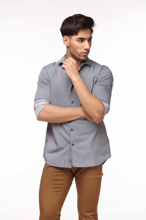Grey Textured Print Casual Shirt